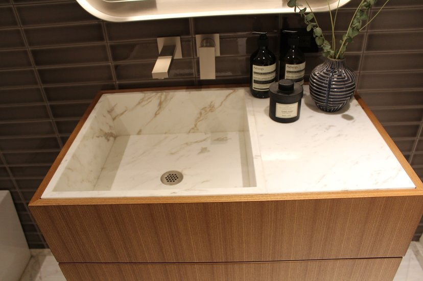 Custom Elm Veneer Suspended Vanity Accented By Inset Polished Bianco Drama Marble  Countertop U0026 Sinks